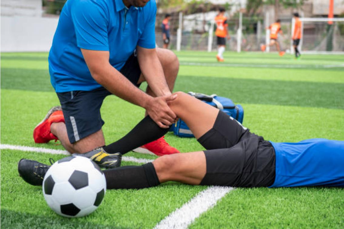 voetbal, blessure, gras, persoon, buiten,